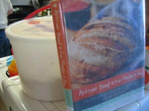 Artisan bread book and my 5-qt dough bucket